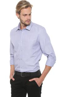 Camisa Calvin Klein Reta Estampada Azul