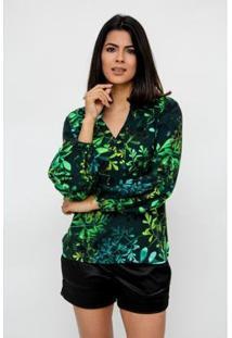 Camisa Clara Arruda Manga Franzida Estampada 12043 - Feminino-Verde