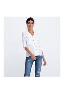 Camisa Manga 3/4 Lisa Com Bolsos E Botões | Marfinno | Branco | Pp