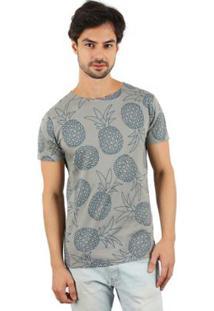 Camiseta Lat Abacaxi Masculina - Masculino-Cinza+Azul