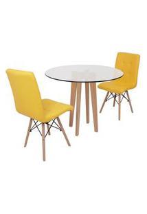Conjunto Mesa De Jantar Em Vidro 90Cm Com Base Vértice + 2 Cadeiras Gomos - Amarelo