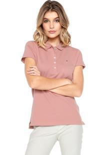 Camisa Pólo Bordada Tommy Hilfiger feminina  0f4bc083332e1