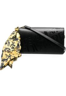 Versace Jeans Couture Scarf-Detailed Logo Shoulder Bag - Preto