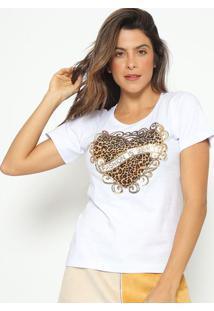 "Blusa ""Fashion Is Beauty""- Branca E Dourada- Fashionfashion 500"
