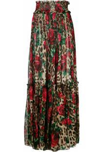 Dolce & Gabbana Saia Longa Floral E Animal Print - Marrom