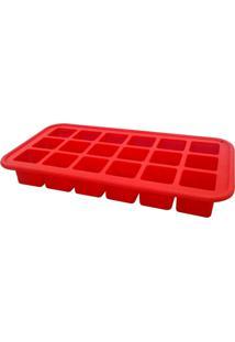 Forma De Silicone Para 12 Pedras De Gelo Vermelho - Multicolorido/Vermelho - Dafiti