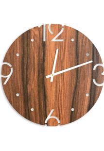 Relógio De Parede Premium Amadeirado Com Números Vazados 50Cm Grande