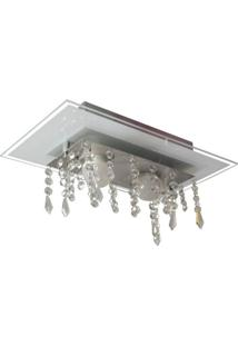 Plafon De Vidro Com Cristal Para 02 Lâmpadas Branco