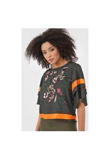 Camiseta Forum Estampada Verde/Laranja