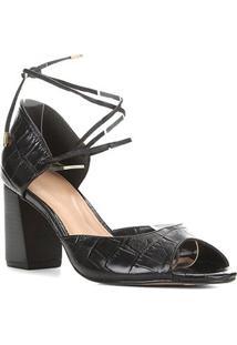 Sandália Couro Shoestock Salto Bloco Croco Feminina - Feminino-Preto