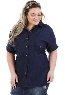 Camisa Jeans Plus Size Judy Manga Curta Feminina - Feminino-Azul