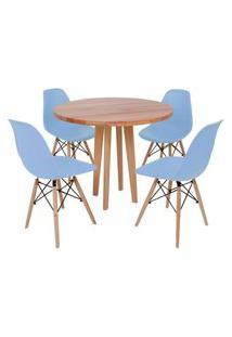 Conjunto Mesa De Jantar Em Madeira 90Cm Com Base Vértice + 4 Cadeiras Eiffel - Azul Claro