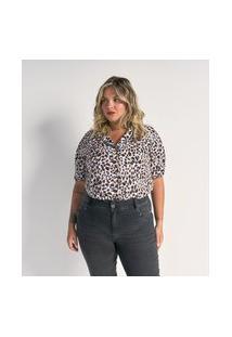 Camisa Manga Curta Em Crepe Estampa Animal Print Curve & Plus Size | Ashua Curve E Plus Size | Branco | Gg