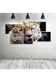 Quadro Decorativo - Leopard-Neon-Face - Composto De 5 Quadros