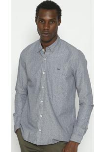 Camisa Slim Fit Geomã©Trica Com Botãµes- Cinza & Azul Marilacoste