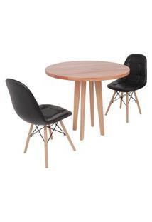 Conjunto Mesa De Jantar Em Madeira 90Cm Com Base Vértice + 2 Cadeiras Botonê - Preto