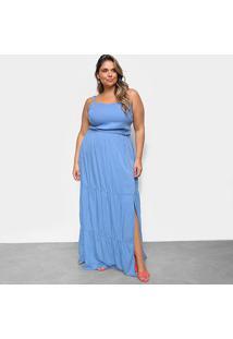 Vestido Cambos Plus Size Longo - Feminino-Azul