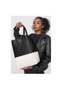 Bolsa Ellus Shopping Bag Dupla Face Bicolor Branco/Preto