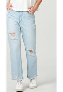 Calça Feminina Em Jeans De Algodão Destroyed Azul