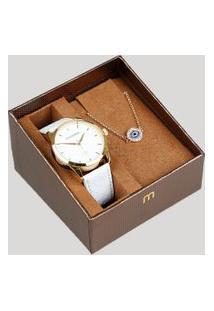 Kit De Relógio Analógico Mondaine Feminino + Pulseira - 99344Lpmvdh1K Branco