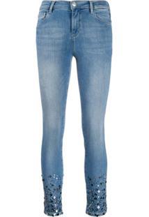 Twin-Set Calça Jeans Skinny Com Aplicação De Paetês - Azul