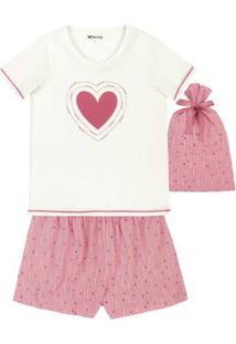 Pijama Feminino Em Algodão Com Shorts Estampado