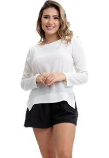 Blusa Clara Arruda Bicolor 20321 - Feminino-Off White