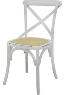 Cadeira Katrina Madeira Assento Em Rattan Cor Branca - 18559 - Sun House
