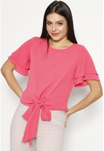 Blusa Texturizada Com Amarração - Pinkmoiselle