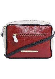 Bolsa Transversal Em Couro - Vermelha & Branca - 19Xdi Marlys