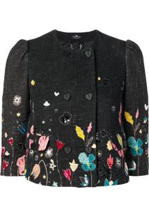 Elisabetta Franchi Floral-Print Tweed Jacket - Preto