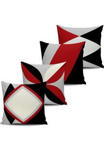 Kit 4 Capas Almofadas Decorativas Abstrata Bordo 45X45Cm - Tricae