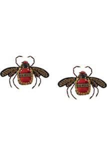 Ranjana Khan Bee Embellished Earrings - Vermelho