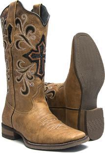 Bota Texana Feminina - Fossil Caramelo / Bucho Preto Com Glitter Prata - Roper - Bico Quadrado - Cano Longo - Solado Nevada - Vimar Boots - 13056-A-Vr
