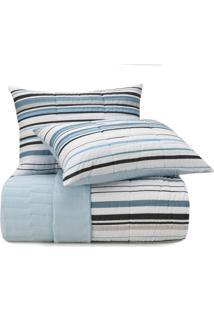 Colcha Queen Altenburg Malha In Cotton 100% Algodão Fresh Lines Azul