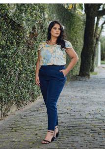 Calça Alfaiataria Almaria Plus Size Peri Azul