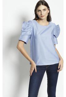 Blusa Listrada Com Sobreposiã§Ã£O- Azul & Brancaenna