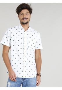 Camisa Masculina Estampada Étnica Manga Curta Gola Esporte Branca