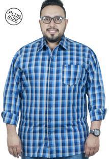 Camisa Plus Size Bigshirts Manga Longa Xadrez Azul