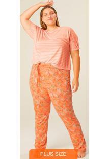 Pijama Laranja Claro Estampado Com Linho Plus