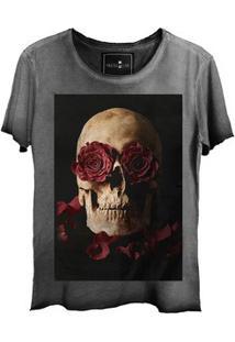 Camiseta Feminina Estonada Gola Canoa Corte A Fio Skull Roses