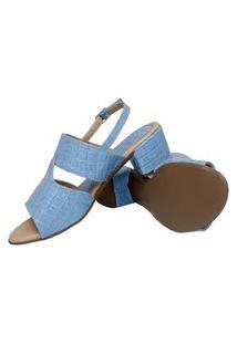 Sandália Donna Santa Verniz Croco Azul Claro