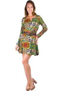 33f48425f ... Vestido Banna Hanna Visco Com Pregas - Feminino-Verde+Marrom