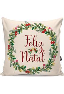 "Capa Para Almofada ""Feliz Natal""- Bege Claro & Verdestm Home"
