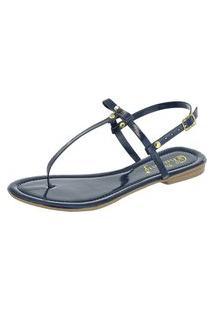 Sandália Fashion 20 Rasteirinha Flat Marinho