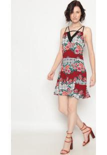 Vestido Floral Com Recortes- Vermelho & Branco- Operoperate