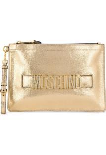 Moschino Clutch Com Logo Metalizado - Dourado