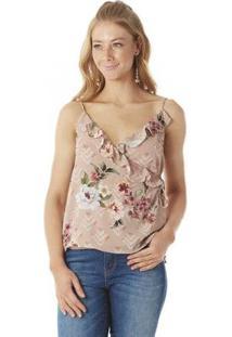 Blusa Serinah Transpassada Floral Feminina - Feminino-Nude