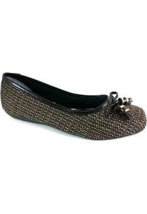 Sapatilha Bico Quadrado Sapatoweb Laço Feminina - Feminino-Marrom
