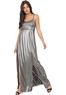 Vestido Enfim Longo Metalizado Prata